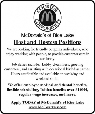 Host and Hostess Positions
