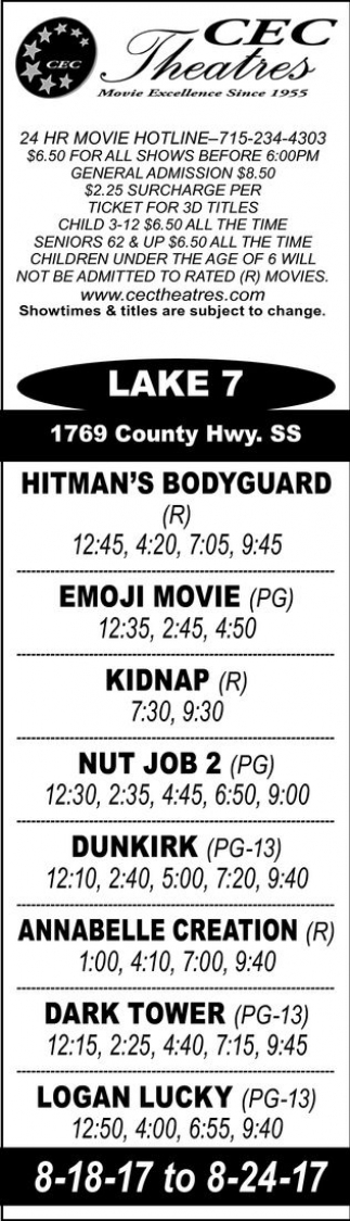 Hitman's Bodyguard - Emoji Movie - Kidnap - Nut Job 2 - Dunkirk - Annabelle Creation - Dark Tower - Logan Lucky