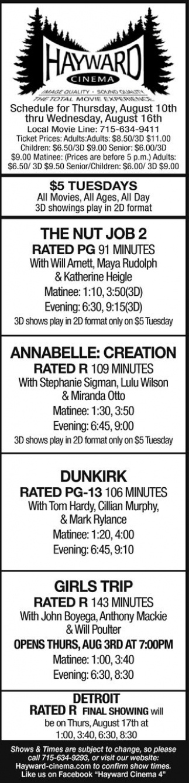 The Nut Job - Annabelle: Creation - Dunkirk - Girls Trip - Detroit
