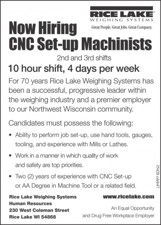 CNC Set-up Machinists