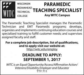 Paramedic Teaching Specialist