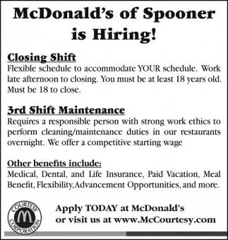 McDonald-s of Spooner is Hiring