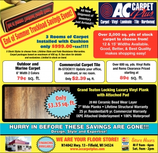 End of summer truckload savings event ac carpet plus fifield wi ads for ac carpet plus in fifield wi baanklon Image collections