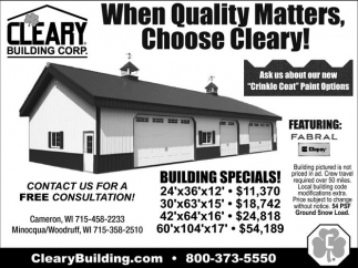 When Quality Matters Choose Cleary!