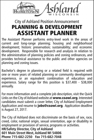 Planning & Development Assistant Planner