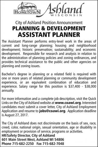 Planning & Development Assistant Planner