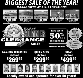End of Summer Clearance Sale!