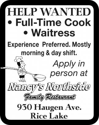 Cook, Waitress