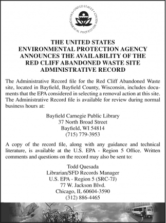 Availability of the Red Cliff Abandoned Waste Site Administrative Record