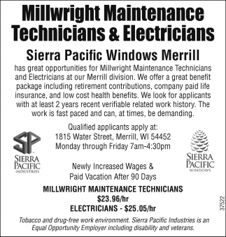 Millwright Maintenance Technicians & Electricians