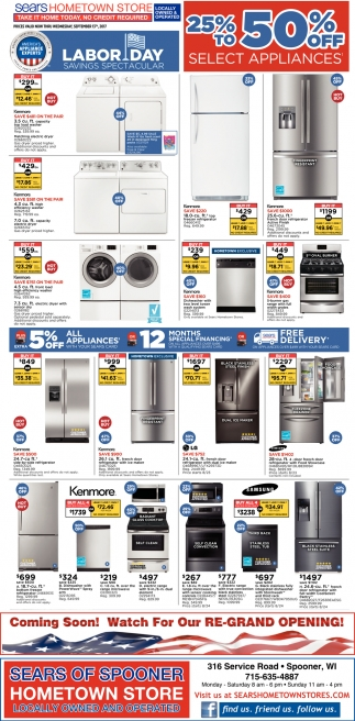 25% off to 50% off select appliances