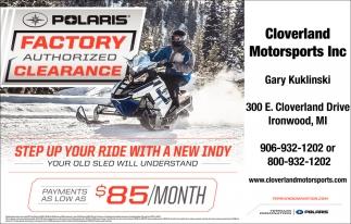 Polaris Factory Athorized Clearance