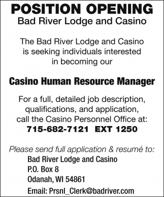 Casino Human Resource Manager
