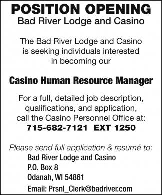Casino Human Resource Manager