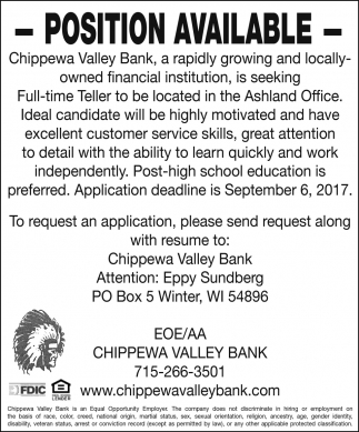 Position Available, Chippewa Valley Bank - Winter, Winter, WI