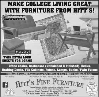 Make College Living Geat With Furniture From Hitt's!