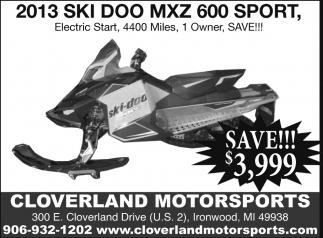 2013 Ski Doo MXZ Sport