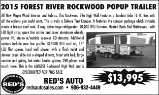 2015 Forest River Rockwood Popup Trailer