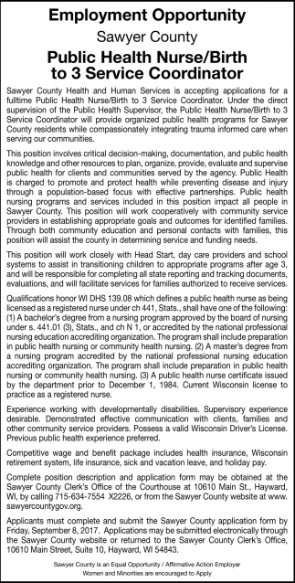 Public Health Nurse / Birth to 3 Service Coordinator