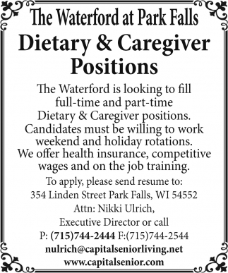 Dietary & Caregiver Positions