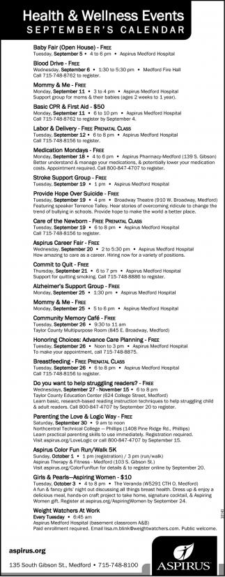 Health & Wellness Events September's Calendar