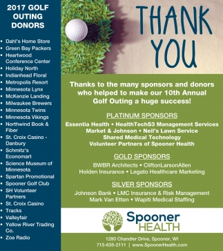 Thank You, 2017 Golf Outing Donors
