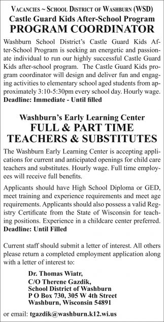 Program Coordinator, Teachers & Substitutes