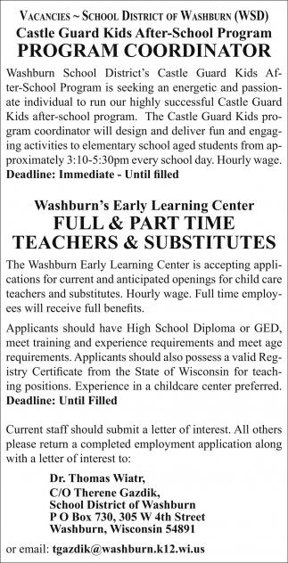 Program Coordinator, Teachers & Substitutes