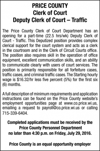 LTE - Deputy Clerk of Court