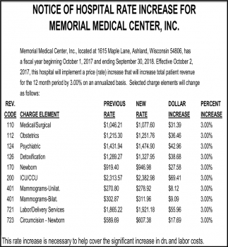 Notice of Hospital Rate Increase for Memorial Medical Center, Inc