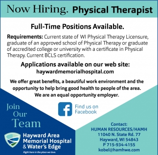 Physical Therapist Hayward Area Memorial Hospital Hayward Wi