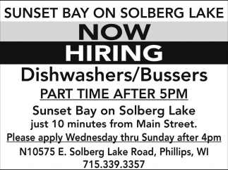 Dishwasher/Bussers