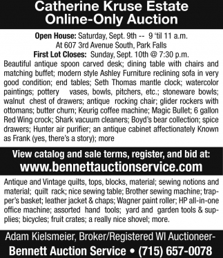 Catherine Kruse Estate Online-Only Auction