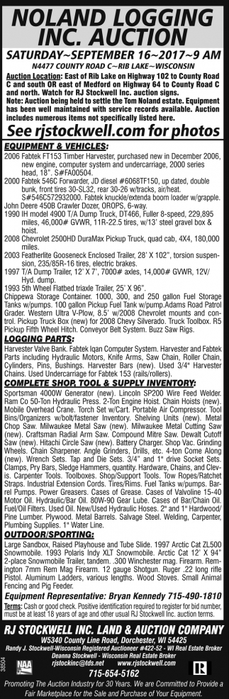 Noland Logging Inc. Auction