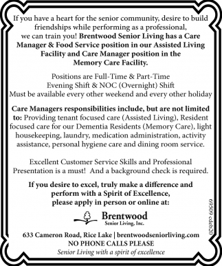 Brentwood Senior Living Jobs Ads From Rice Lake Chronotype