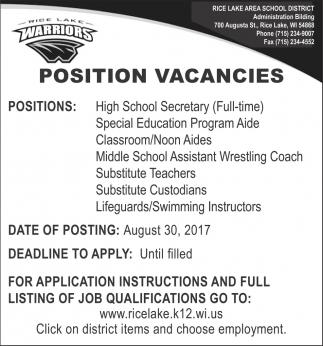 Position Vacancies