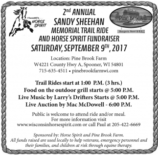 2nd Annual Sandy Sheehan Memorial Trail Ride and Horse Spirit Fundraiser