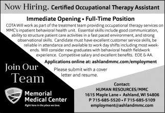 Certified Occupational Therapy Assistant, Memorial Medical Center ...