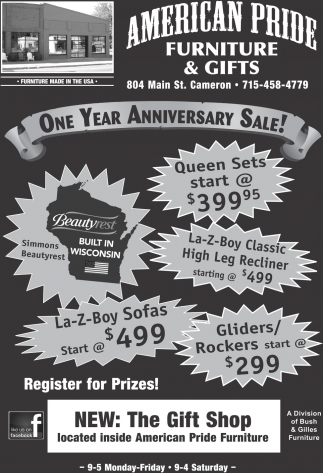 Ads For American Pride Furniture U0026 Gifts In Cameron, WI