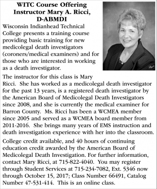 Course Offering Instructor Mary A. Ricci, D-ABMDI