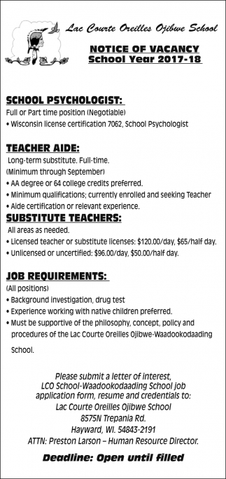 Notice Of Vacancy Lac Courte Oreilles Ojibwe School Hayward Wi