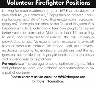 Volunteer Firefighter Positions