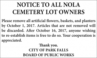 Notice to all Nola Cemetery Lot Owners