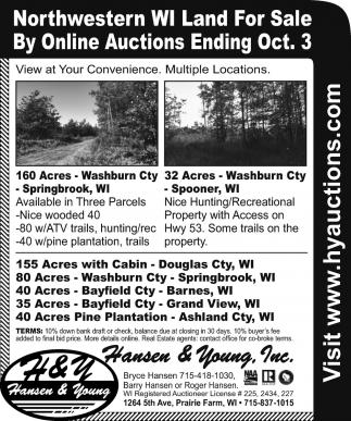 Northwestern WI Land For Sale