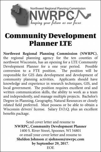 Community Development Planner LTE