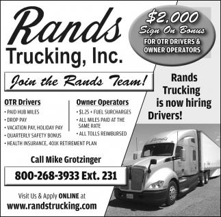 OTR Drivers / Owner Operators