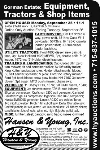 Equipment, Tractors & Shop Items