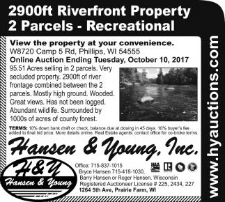 2900ft Riverfront Property 2 Parcels, Recreational