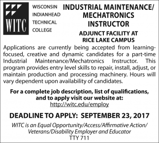 Industrial Maintenance / Mechatronics Instructor