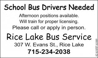 School Bus Drivers Needed